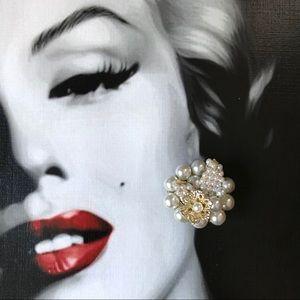 Vintage Pearl Floral Clip On Earrings